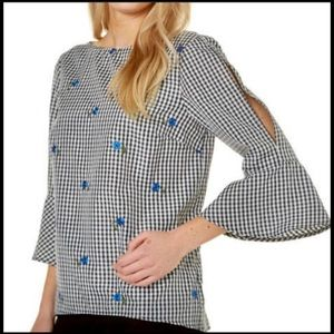 ALYX gingham plaid bell sleeve blouse top NWT
